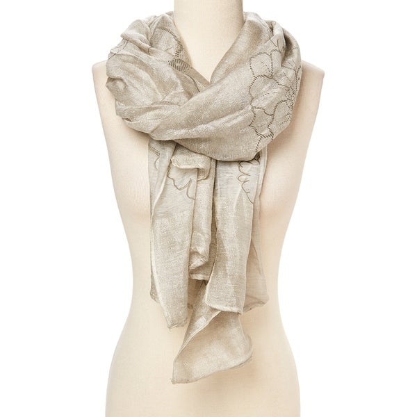 35fa6d66d48a1 Shop Cream Floral Scarf for Women's Ladies Viscose Shawl Scarves Wrap -  33