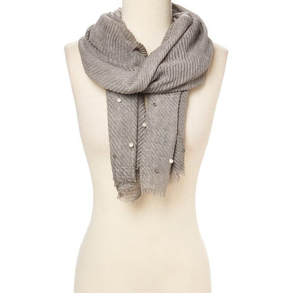 fbb84d13abcd8 Grey Women's Accent Scarf Faux Pearl Viscose Fringe Hem Scarves Wraps Shawl  - 29