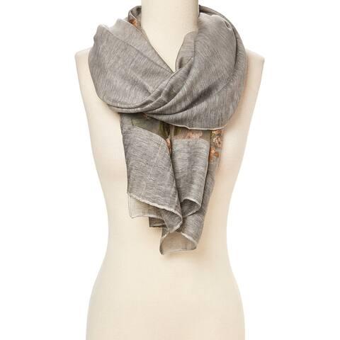 """Grey Orange Fashionable Floral Accent Scarfs Silk Blend Shawl Scarves Wrap - 29""""x72"""""""