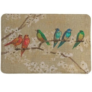 Laural Home Birds in Bloom Memory Foam Bath Mat