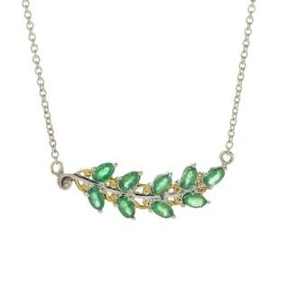 Michael Valitutti Palladium Silver Emerald Nine-Stone Leaf Necklace
