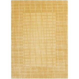 """Calvin Klein New Patina Gold Area Rug by Nourison - 5'6"""" x 7'5"""""""