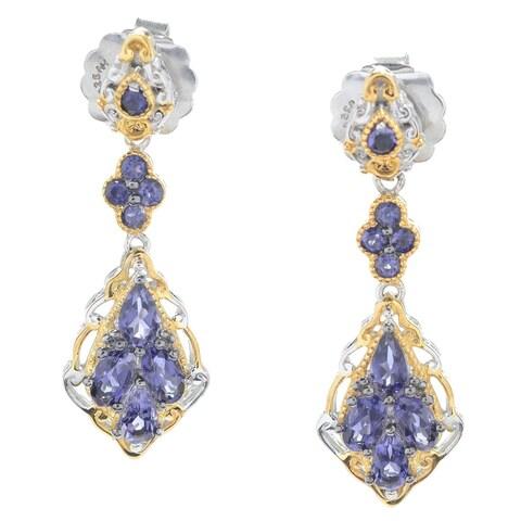 Michael Valitutti Palladium Silver Iolite Dangle Earrings