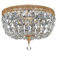 elight DESIGN Traditional 2-light Brass/Crystal Flush Mount