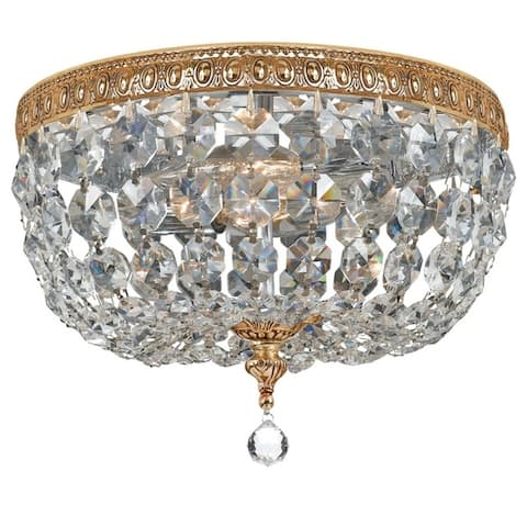 Traditional 2-light Brass/ Crystal Flush Mount