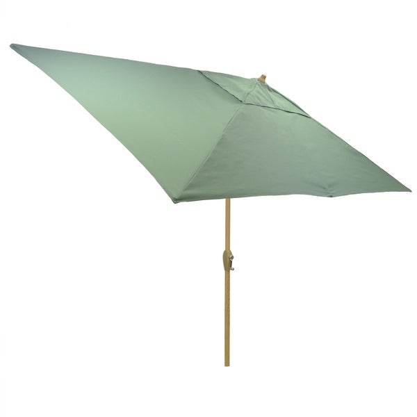 6.5x10' Rectangular Patio Umbrella with Light Wood Finish Pole