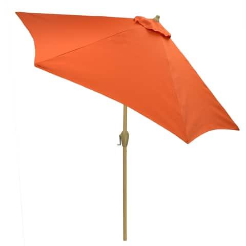 9' Round Patio Umbrella with Light Wood Finish Pole