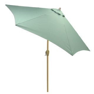 9' Round Patio Umbrella with Light Wood Finish Pole