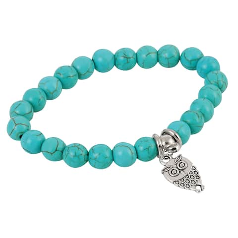 Owl Charm and Beaded Stretch Bracelet