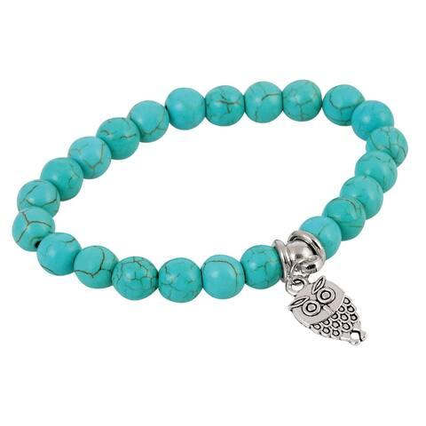 Owl Charm and Beaded Stretch Bracelet