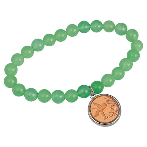 Hummingbird Coin Aventurine Stretch Bracelet