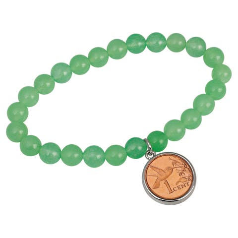 Hummingbird Coin Aventurine Stretch Bracelet