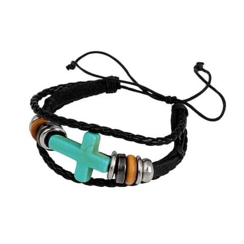 Cross and Beads On Braided Cord Bracelet