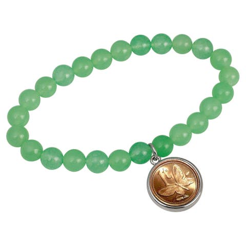 Butterfly Coin Aventurine Stretch Bracelet