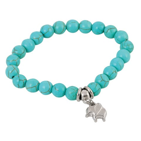 Elephant Charm and Beaded Stretch Bracelet