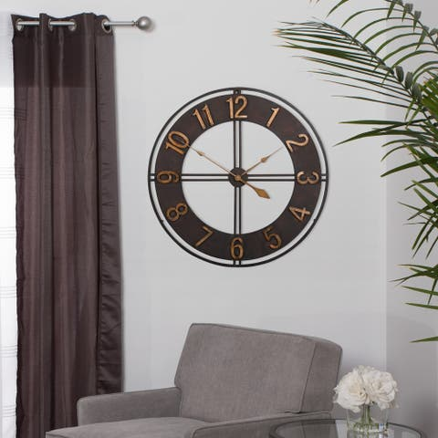 "Studio Designs Home 30"" Industrial Loft Metal Wall Clock - Dark Bronze"