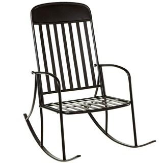 Black Distressed Iron Rocking Chair
