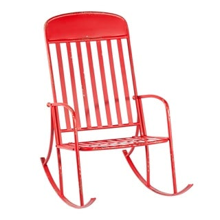 Distressed Red Rocking Chair.