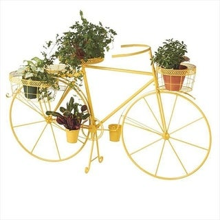 Yellow Bicycle with Planter Baskets.