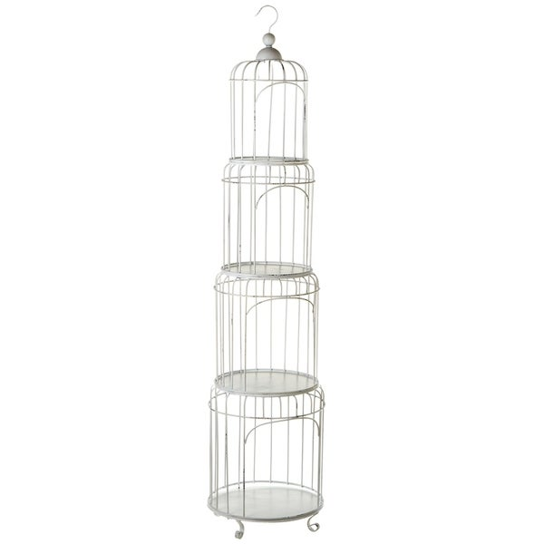 White Metal Nested Tiered Birdcage Shelf