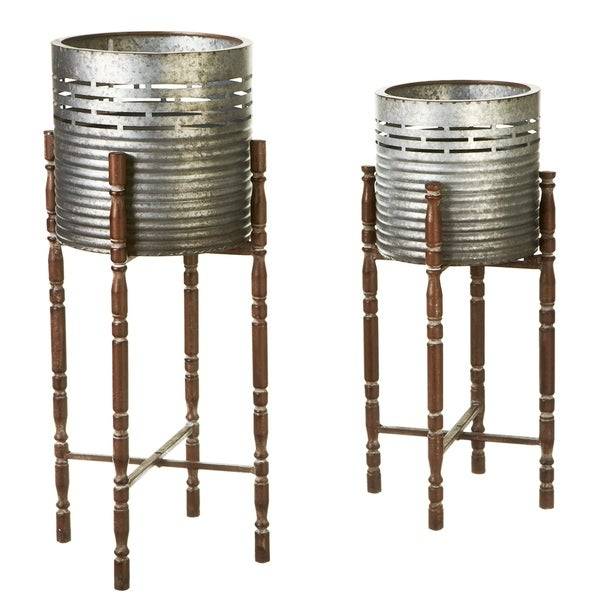 Shop Round Galvanized Planter On Stand Set 2 Free Shipping Today