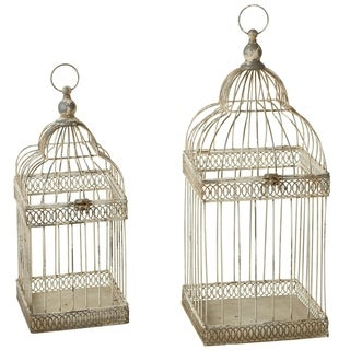 Distressed Ivory Curved Top Square Bird Cage set/2.