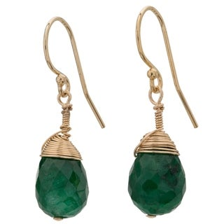 Tara Mesa Gold Filled Emerald Wire Wrapped Drop Earrings