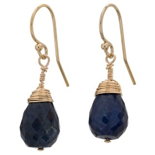 Tara Mesa Gold Filled Sapphire Wire Wrapped Drop Earrings