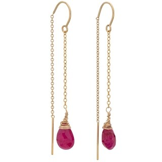 Tara Mesa Gold Filled Ruby Threader Earrings