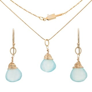Tara Mesa Gold Fill Aqua Chalcedony Pendant and Earring Set