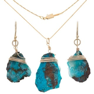 Tara Mesa Gold Fill Chrysocolla Pendant and Earring Set