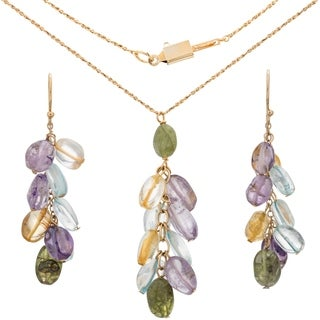 Tara Mesa Gold Fill Multi-Gemstone Pendant and Earring Set