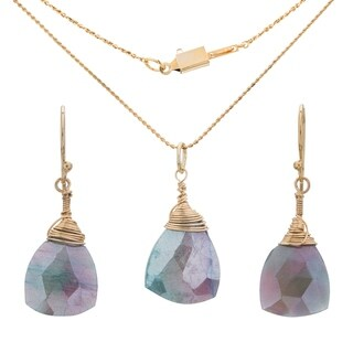Tara Mesa Zuni Gold Fill Mystic Coated Moonstone Pendant and Earring Set