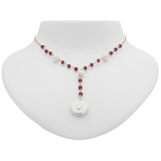 Tara Mesa Gold Filled Ruby & Fresh Water Pearl Y Necklace