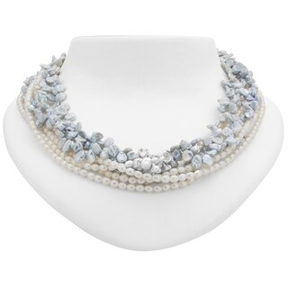 "Tara Mesa 18"" Blue Keshi Pearl and Freshwater Pearl Multi-Strand Necklace"