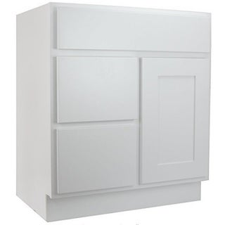 """Cabinet Mania White Shaker Kitchen Cabinet Bathroom Vanity Sink Base Cabinet w/ 2 Drawers Left 30"""" W x 21"""" D x 34.5"""" H"""