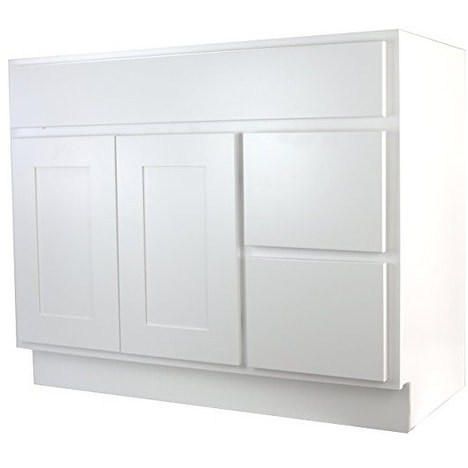 Cabinet Mania White Shaker Kitchen Bathroom Vanity Sink Base W 2 Drawers Right 42 X 21 D 34 5 H Free Shipping Today