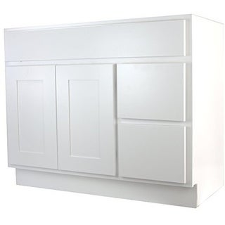 "Cabinet Mania White Shaker Kitchen Cabinet Bathroom Vanity Sink Base Cabinet w/ 2 Drawers Right 42"" W x 21"" D x 34.5"" H"