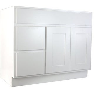"Cabinet Mania White Shaker Kitchen Cabinet Bathroom Vanity Sink Base Cabinet w/ 2 Drawers Left 42"" W x 21"" D x 34.5"" H"