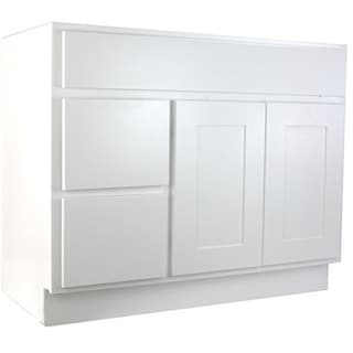 Shop cabinet mania white shaker kitchen cabinet bathroom - Bathroom vanity with drawers on left ...
