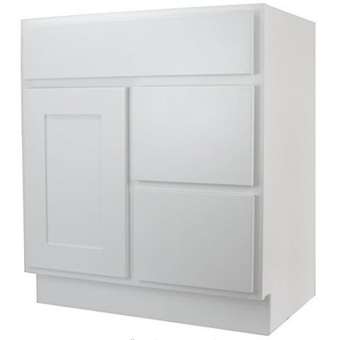 Cabinet Mania White Shaker Kitchen Bathroom Vanity Sink Base W 2 Drawers Righ