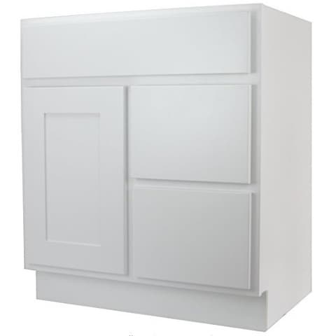 Cabinet Mania White Shaker Kitchen Cabinet Bathroom Vanity Sink Base  Cabinet W/ 2 Drawers Righ