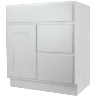 "Shop Cabinet Mania White Shaker Kitchen Cabinet Bathroom Vanity Sink Base Cabinet w/ 2 Drawers Righ 30"" W x 21"" D x 34.5"" H - Free Shipping Today ..."