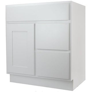 "Cabinet Mania White Shaker Kitchen Cabinet Bathroom Vanity Sink Base Cabinet w/ 2 Drawers Righ 30"" W x 21"" D x 34.5"" H"