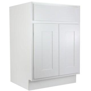 "Cabinet Mania White Shaker Kitchen Cabinet Bathroom Vanity Sink Base Cabinet 24"" W x 21"" D x 34.5"" H"