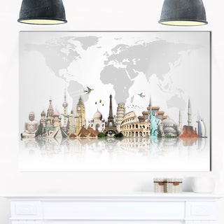 Famous Monuments Across World - Art Glossy Metal Wall Art 40X30 (As Is Item)