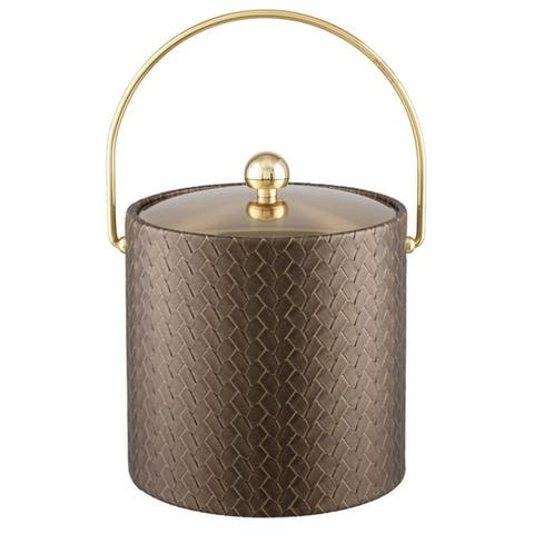 San Remo Antique Gold 3 Qt Ice Bucket W/ Bale Handle & Metal Cover