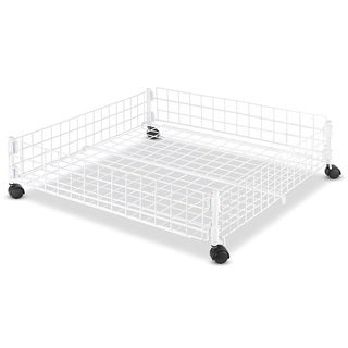 Whitmor Rolling Underbed Cart White Wire