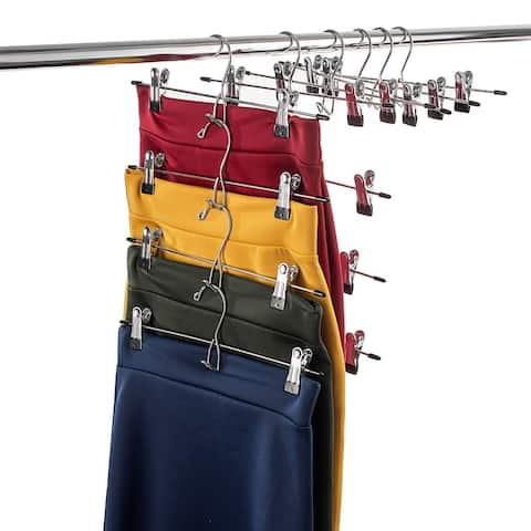 Metal Cascading Pants Hanger with 2 Non-Slip Clips (Set of 12)