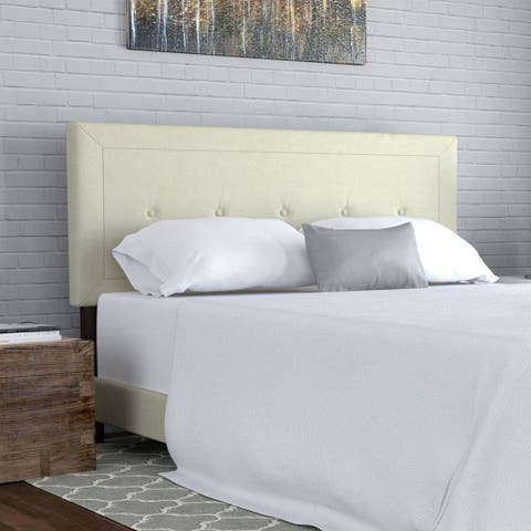 Handy Living Kaylee Cream Button Tufted Upholstered Queen Bed